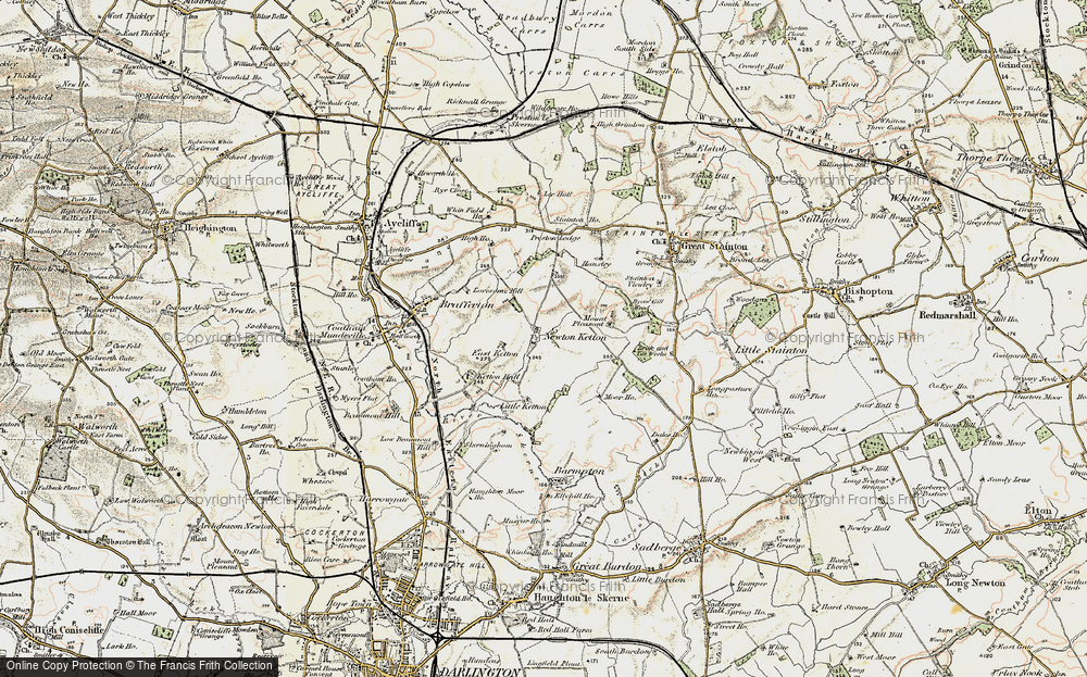 Old Map of Historic Map covering Lea Hall in 1903-1904