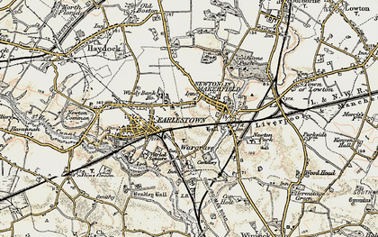 Old map of Newton-le-Willows in 1903