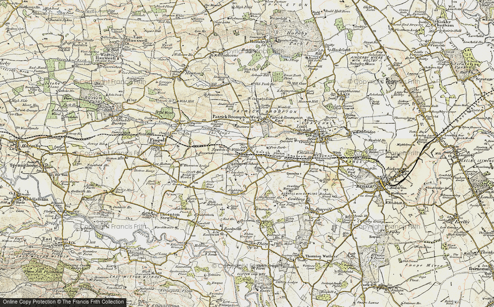 Old Map of Historic Map covering Aysgarth School in 1904