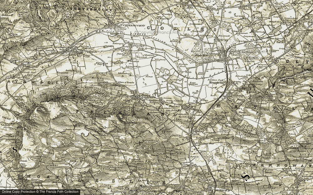 Old Map of Historic Map covering Balreavie in 1906-1908