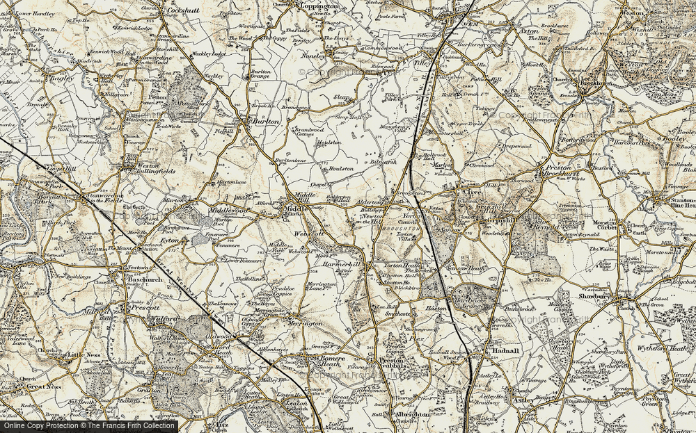 Old Map of Historic Map covering Balderton Hall in 1902