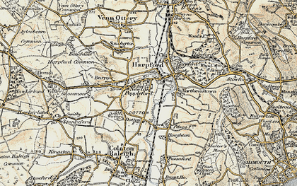 Old map of Newton Poppleford in 1899