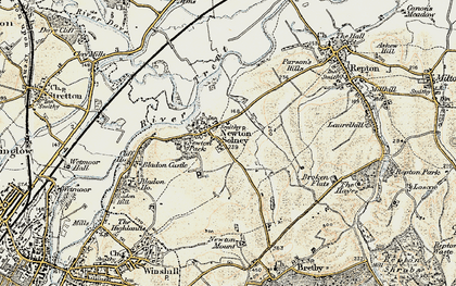 Old map of Newton Solney in 1902