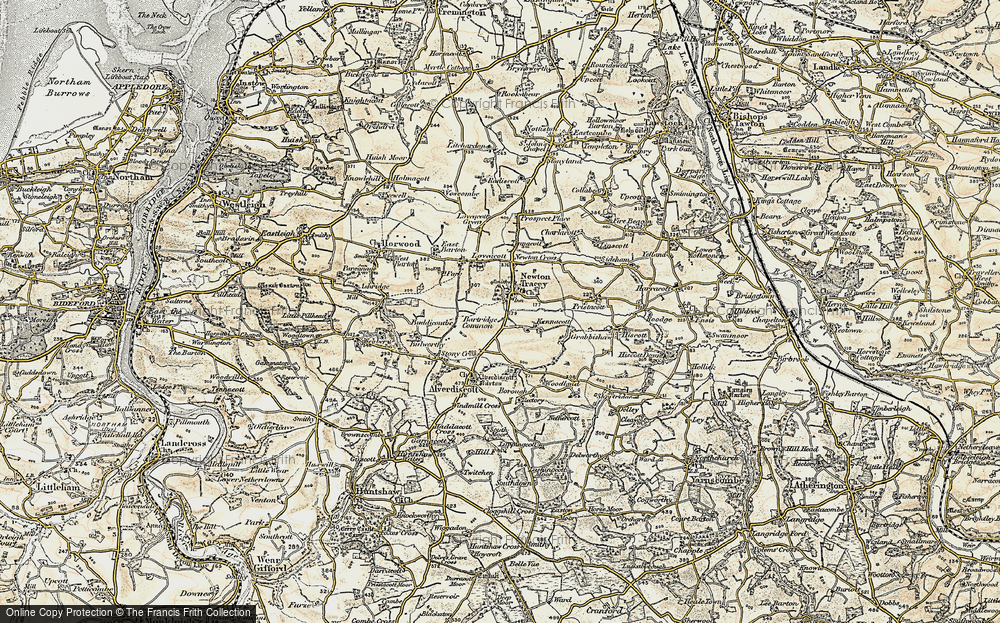 Old Map of Historic Map covering Alscott Barton in 1900