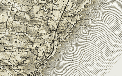 Old map of Whiteland Head in 1908-1909