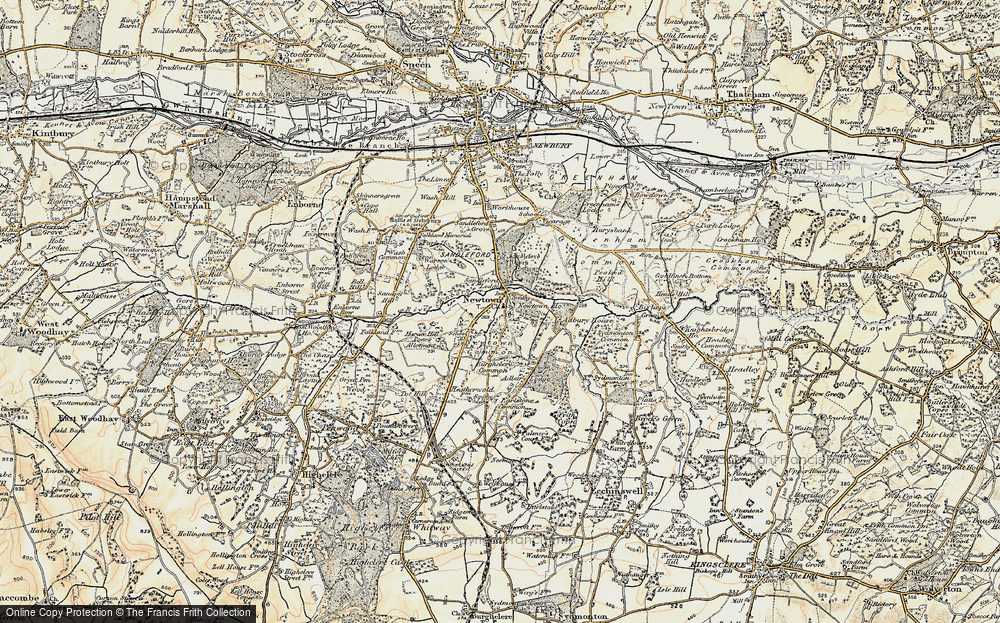 Old Map of Historic Map covering Adbury Ho in 1897-1900