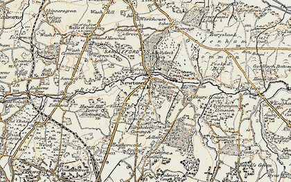 Old map of Adbury Ho in 1897-1900