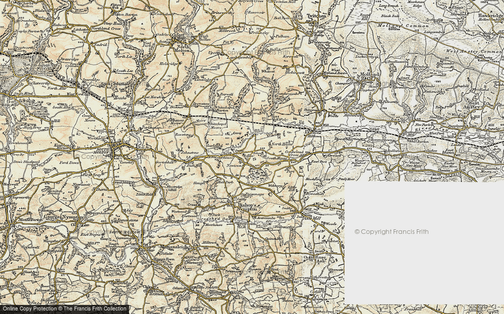 Old Map of Historic Map covering Aller in 1899-1900
