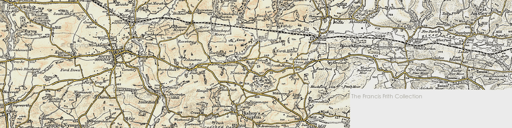 Old map of Aller in 1899-1900