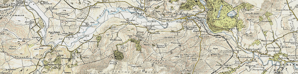 Old map of Whitton Hillhead in 1901-1903