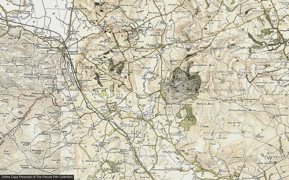 Old Map of Historic Map covering Lilburn Tower in 1901-1903