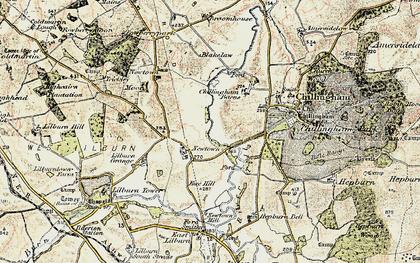Old map of Lilburn Grange in 1901-1903