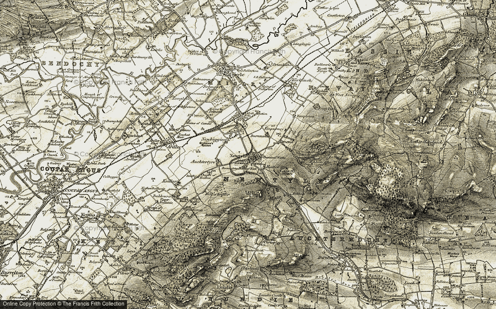 Old Map of Historic Map covering Auchtertyre in 1908