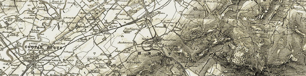Old map of Newtyle in 1908