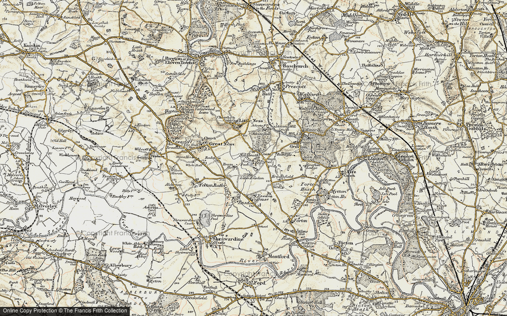 Old Map of Historic Map covering Little Ensdon in 1902