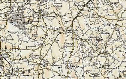 Old map of Nine Maidens Downs in 1900
