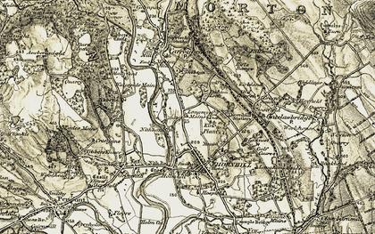 Old map of Langmyre Mains in 1904-1905