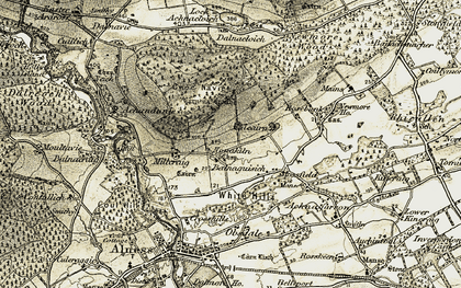 Old map of White Hills in 1911-1912