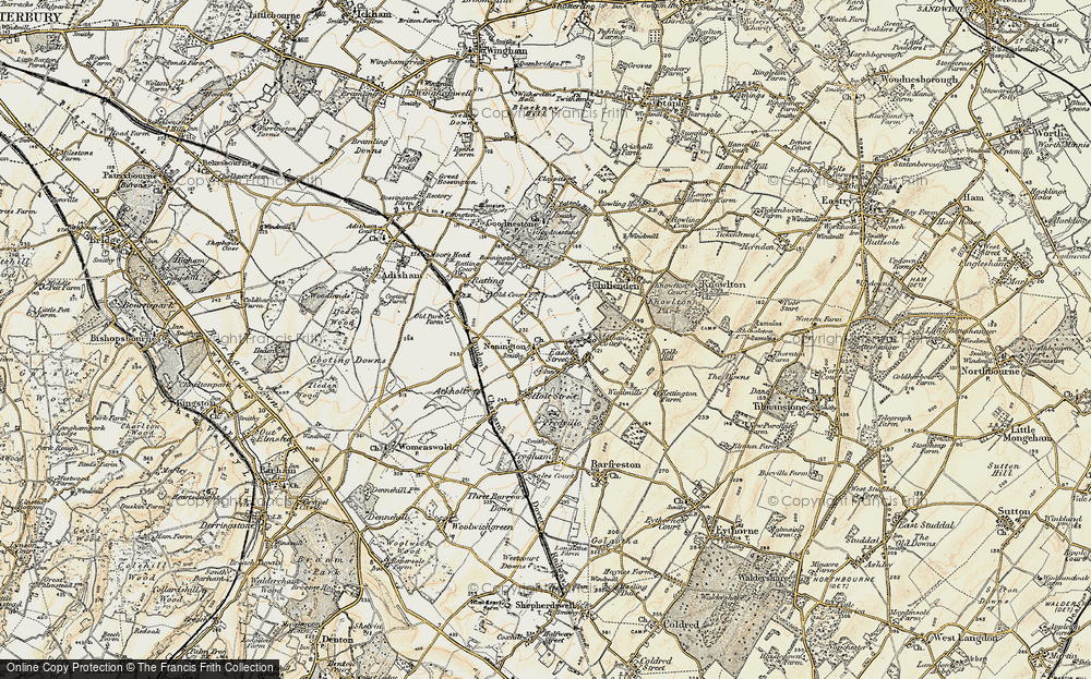 Old Map of Nonington, 1898-1899 in 1898-1899