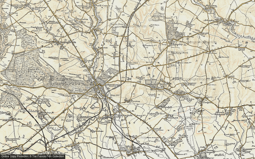 Old Map of Historic Map covering Yellow School Copse in 1898-1899