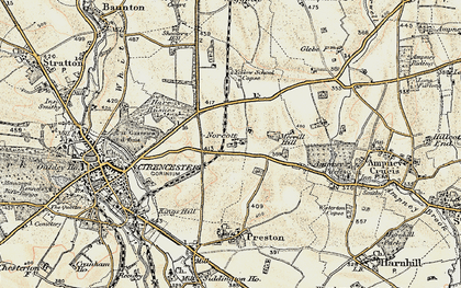 Old map of Yellow School Copse in 1898-1899