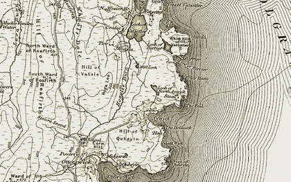 Old map of White Hill of Vatsetter in 1912
