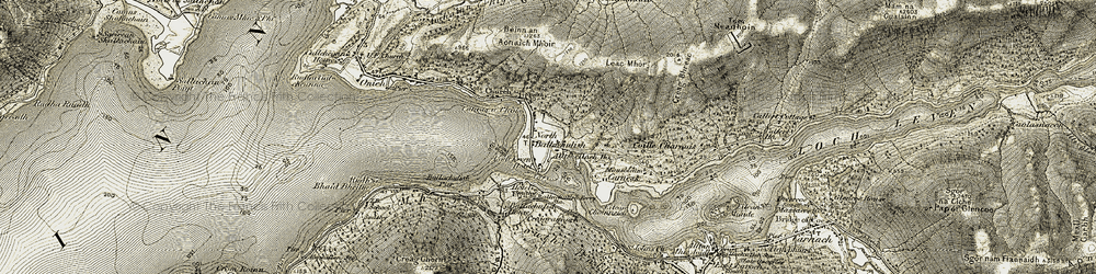 Old map of Alltshellach Ho in 1906-1908