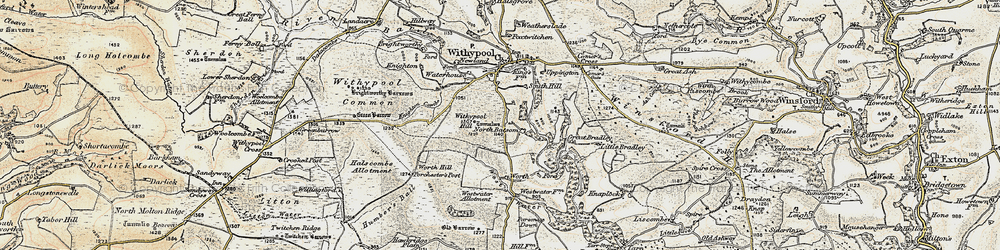 Old map of Withypool Hill in 1900