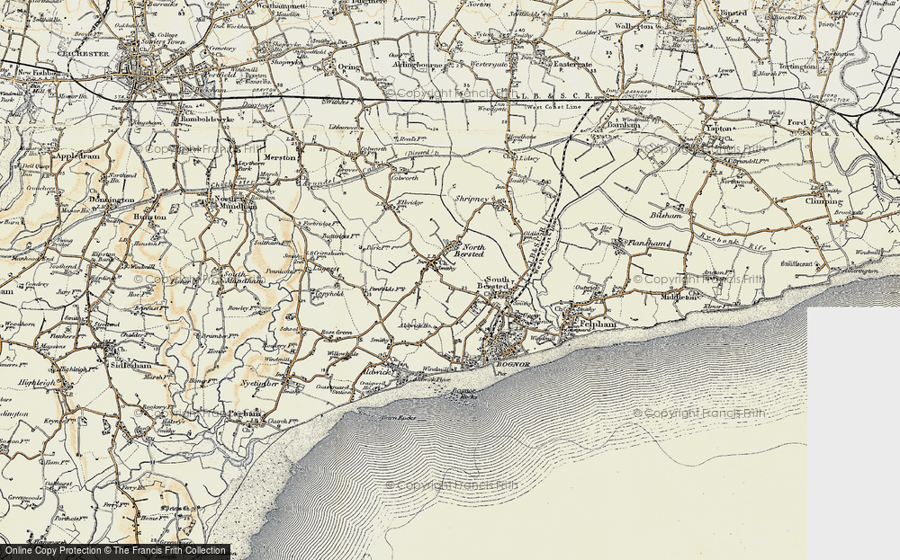 Old Map of Historic Map covering Aldingbourne Rife in 1897-1899