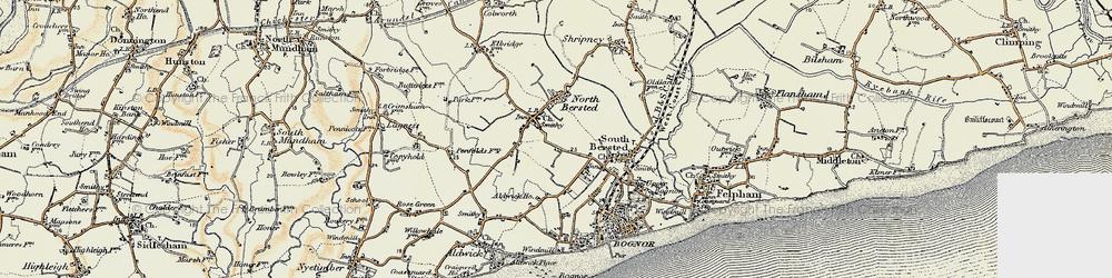 Old map of Aldingbourne Rife in 1897-1899