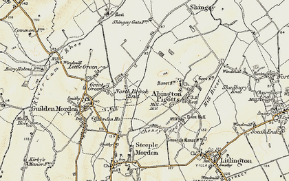 Old map of North Brook End in 1898-1901
