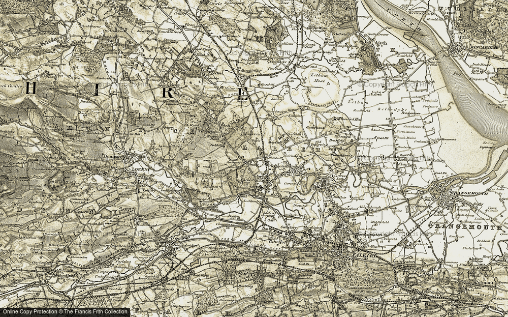 Old Map of Historic Map covering Larbert Ho in 1904-1907