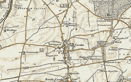 Old map of North Creake in 1901-1902