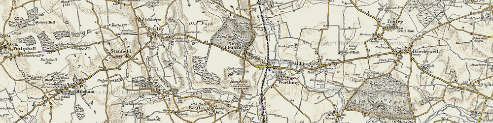 Old map of North Elmham in 1901-1902