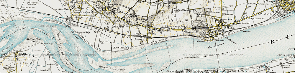 Old map of North Ferriby in 1903-1908