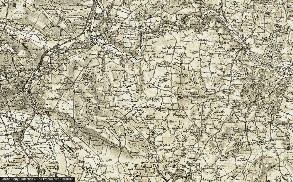 Old Map of Historic Map covering Leet Moss in 1909-1910
