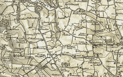 Old map of Leet Moss in 1909-1910