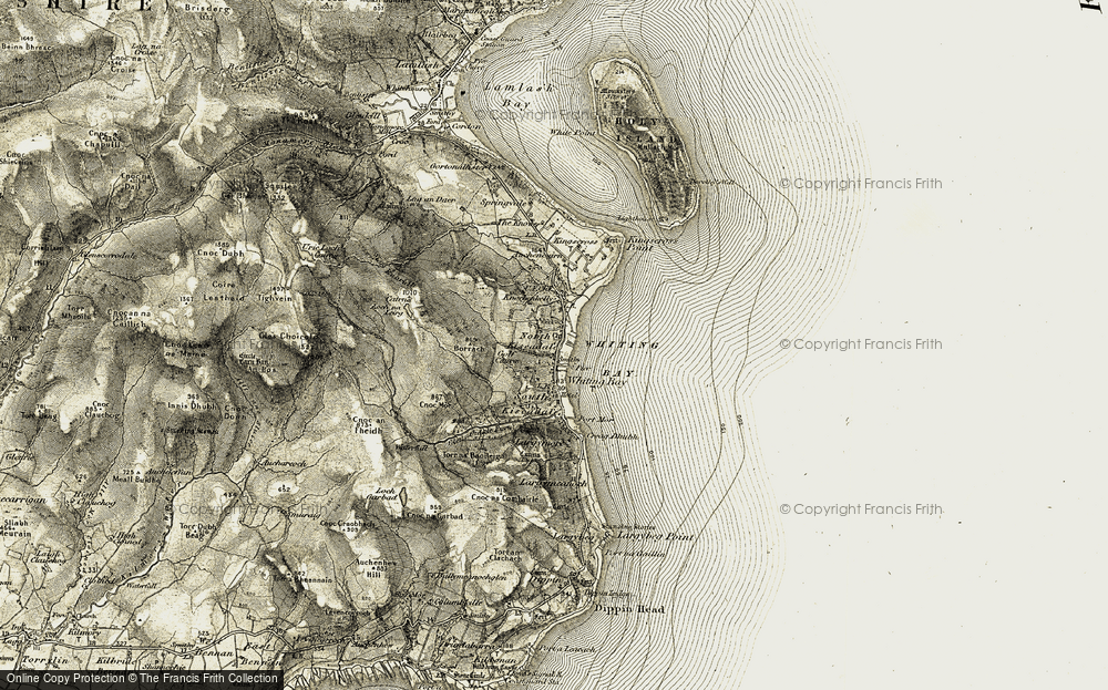 Old Map of Historic Map covering Allt Dhepin in 1905-1906