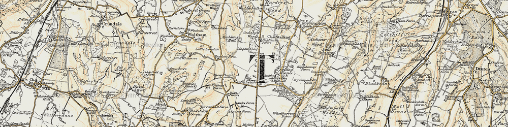 Old map of Yockletts Banks in 1898-1899