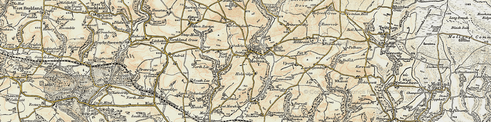 Old map of North Molton in 1900