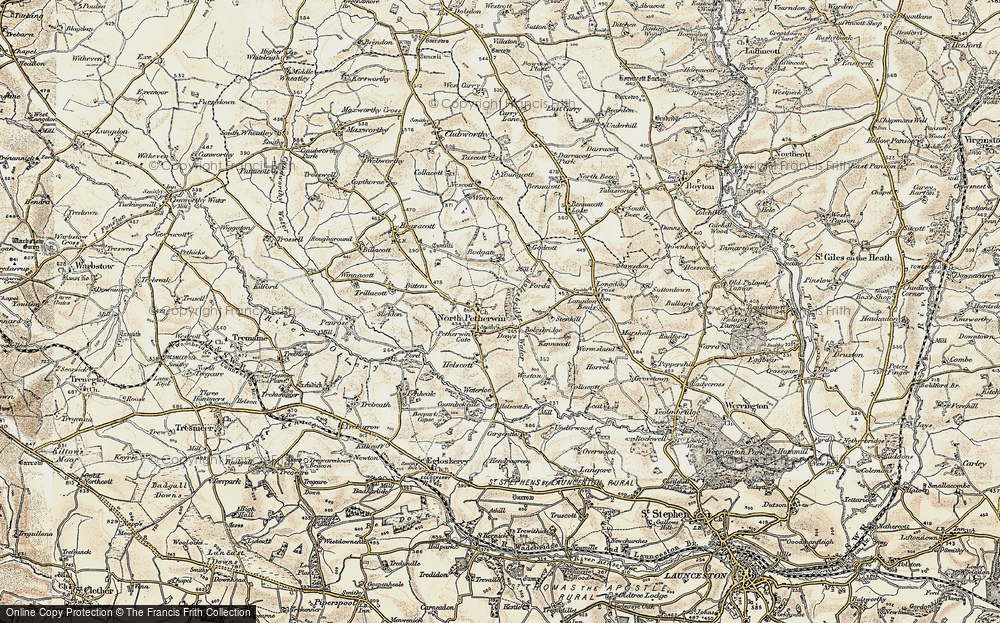 Old Map of Historic Map covering Langdon Cross in 1900