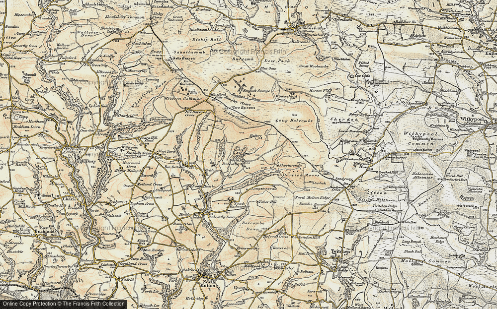 Old Map of Historic Map covering Western Common in 1900