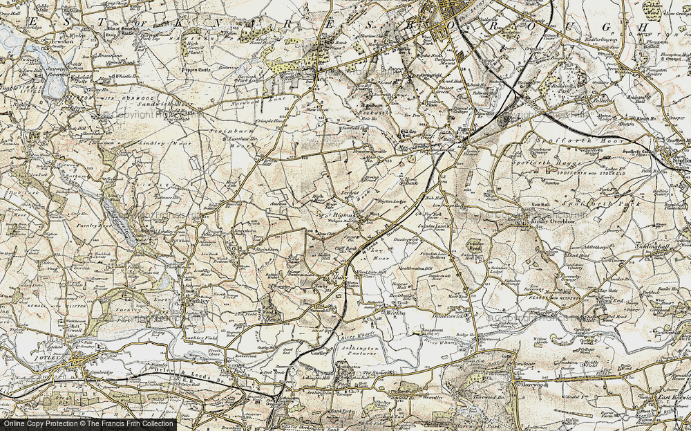 Old Map of Historic Map covering Almscliff Crag in 1903-1904