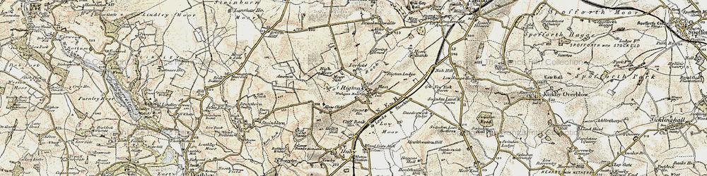 Old map of Almscliff Crag in 1903-1904