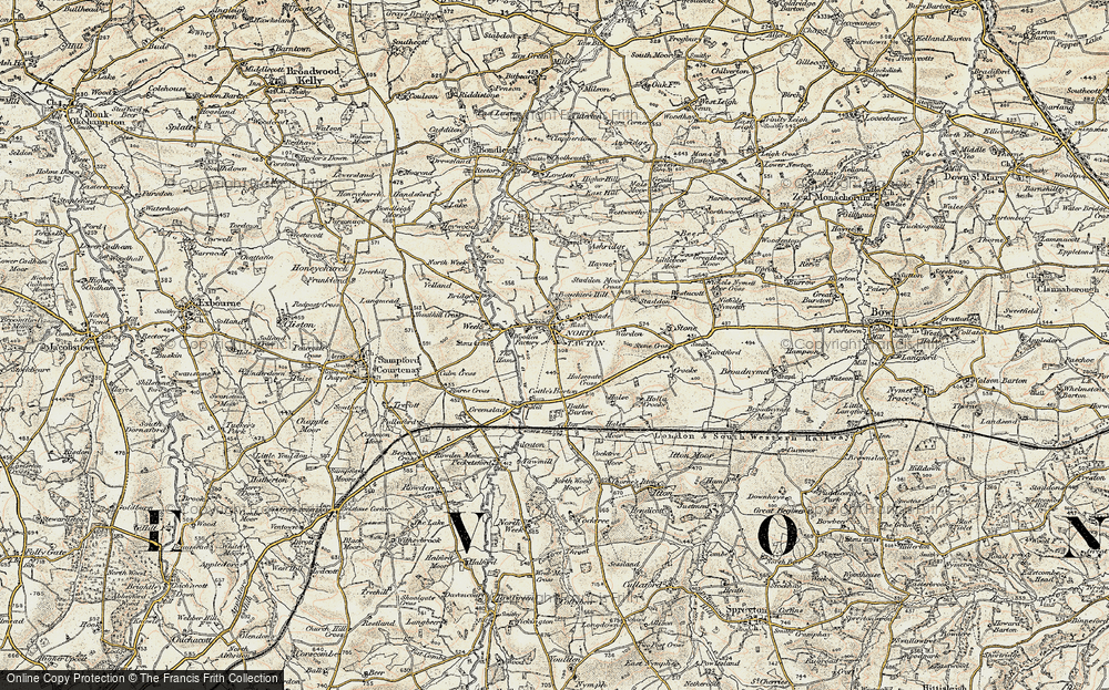 Old Map of Historic Map covering Yeo in 1899-1900
