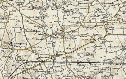 Old map of Yeo in 1899-1900