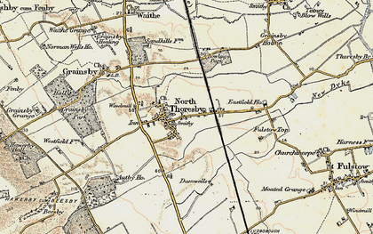 Old map of North Thoresby in 1903-1908