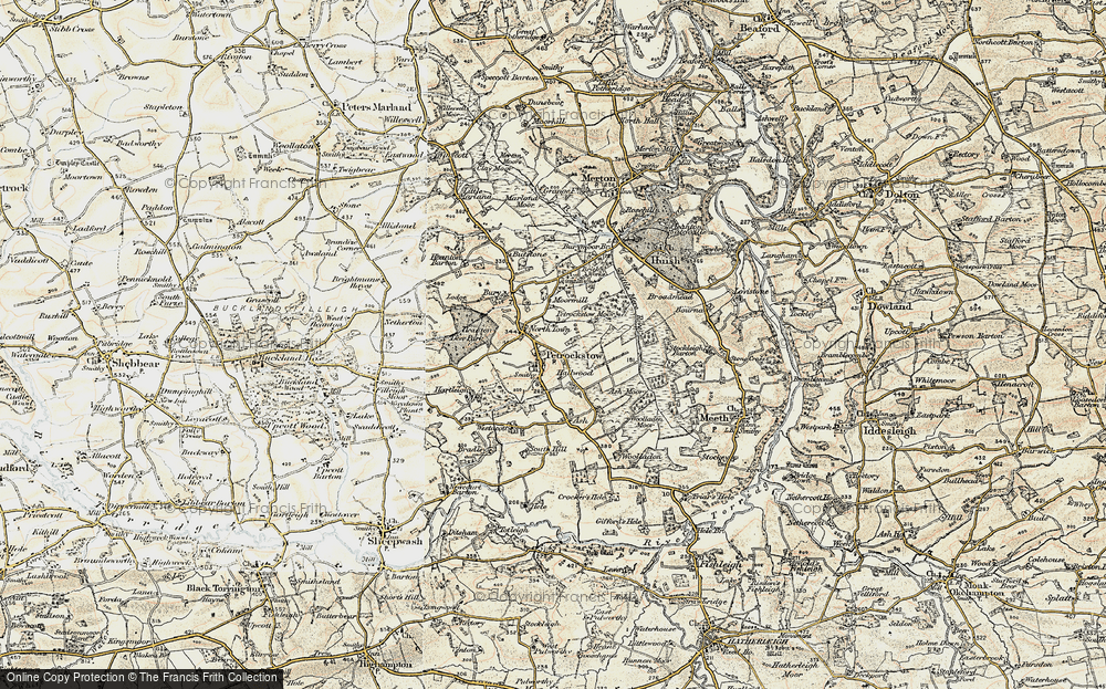 Old Map of Historic Map covering Ash Barton in 1899-1900