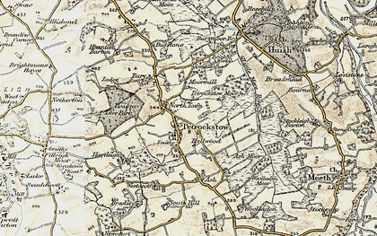Old map of Ash Barton in 1899-1900