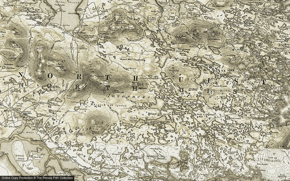 Old Map of Historic Map covering Àird Smeilish in 1911